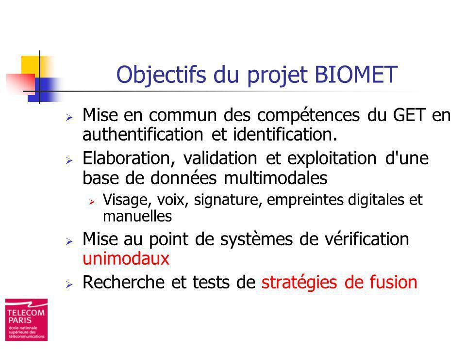 Objectifs du projet BIOMET Mise en commun des compétences du GET en authentification et identification. Elaboration, validation et exploitation d'une