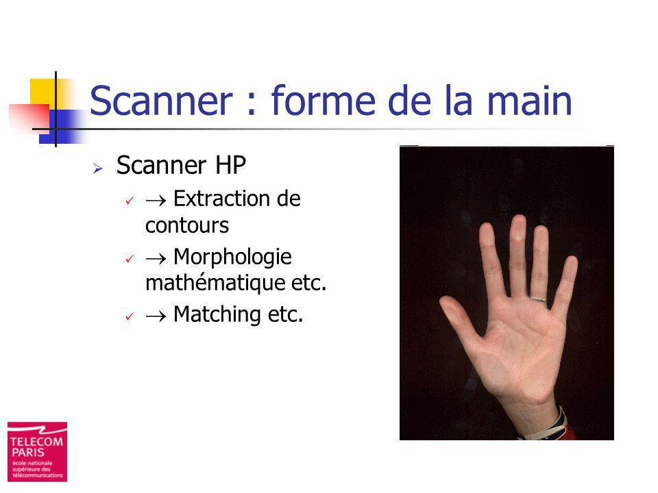 Scanner : forme de la main Scanner HP Extraction de contours Morphologie mathématique etc. Matching etc.