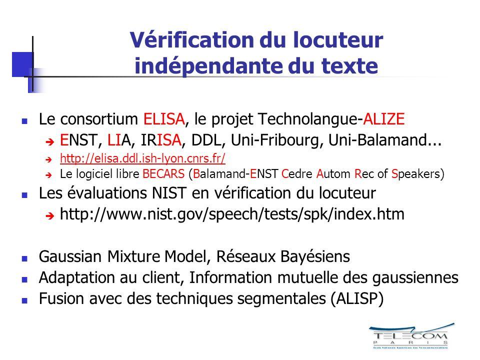 Vérification du locuteur indépendante du texte Le consortium ELISA, le projet Technolangue-ALIZE ENST, LIA, IRISA, DDL, Uni-Fribourg, Uni-Balamand...