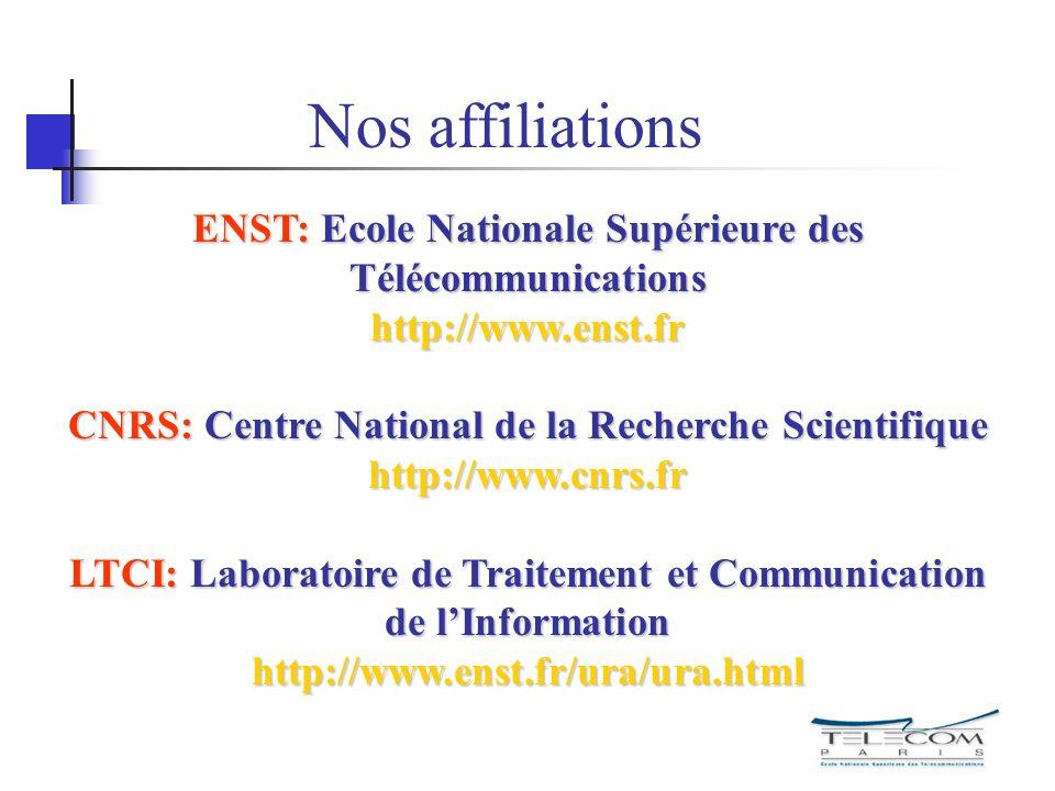 ENST: Ecole Nationale Supérieure des Télécommunications http://www.enst.fr CNRS: Centre National de la Recherche Scientifique http://www.cnrs.fr LTCI: Laboratoire de Traitement et Communication de lInformation http://www.enst.fr/ura/ura.html Nos affiliations