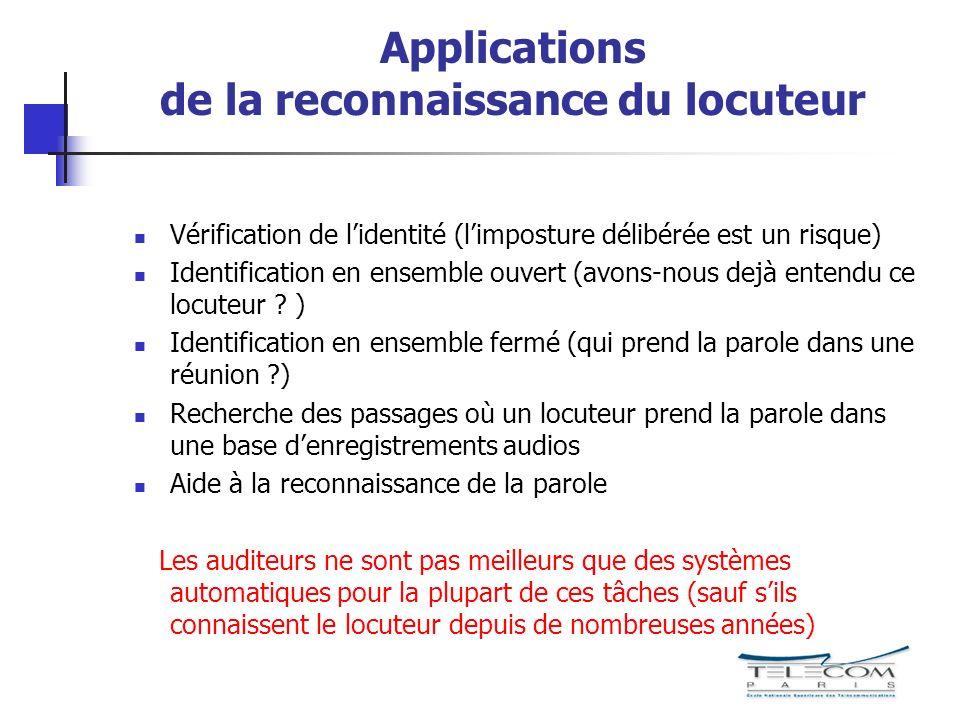 Applications de la reconnaissance du locuteur Vérification de lidentité (limposture délibérée est un risque) Identification en ensemble ouvert (avons-nous dejà entendu ce locuteur .