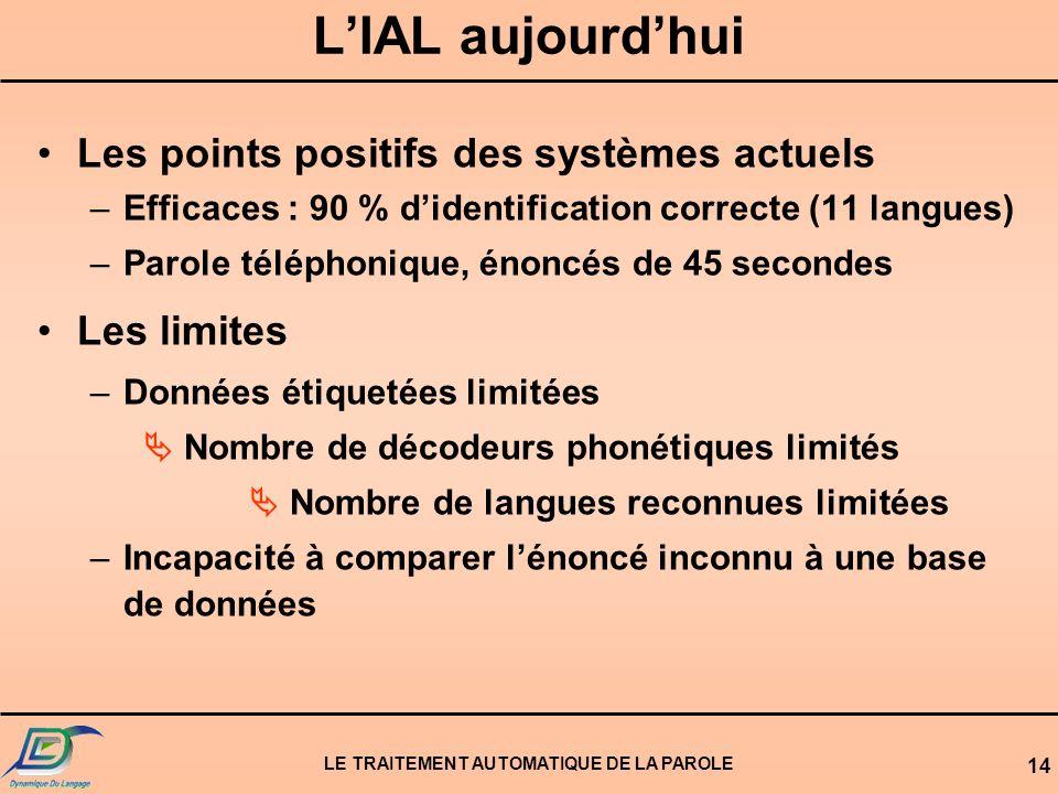LE TRAITEMENT AUTOMATIQUE DE LA PAROLE 13 Topologie dun système dIAL Reconnaissance Phonétique Langue 1 Langue... Langue N Modèles phonétiques Reconna