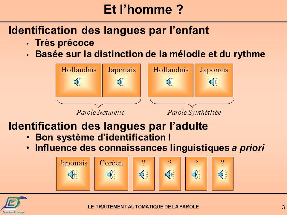 LE TRAITEMENT AUTOMATIQUE DE LA PAROLE 13 Topologie dun système dIAL Reconnaissance Phonétique Langue 1 Langue...