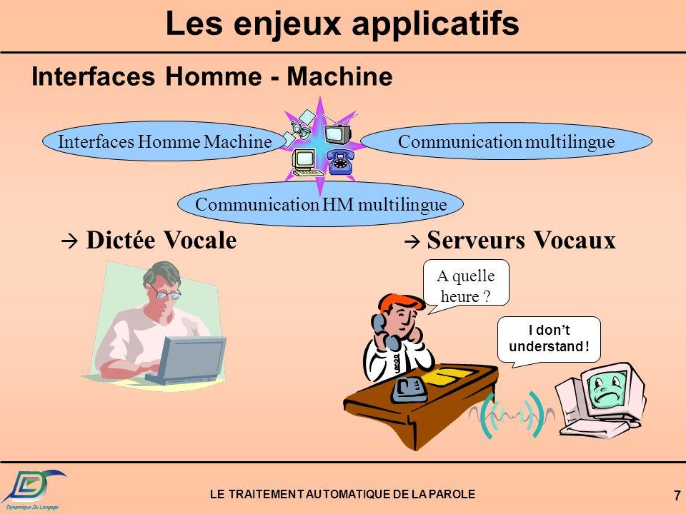 LE TRAITEMENT AUTOMATIQUE DE LA PAROLE 7 Les enjeux applicatifs Communication HM multilingue Communication multilingue Interfaces Homme Machine A quelle heure .