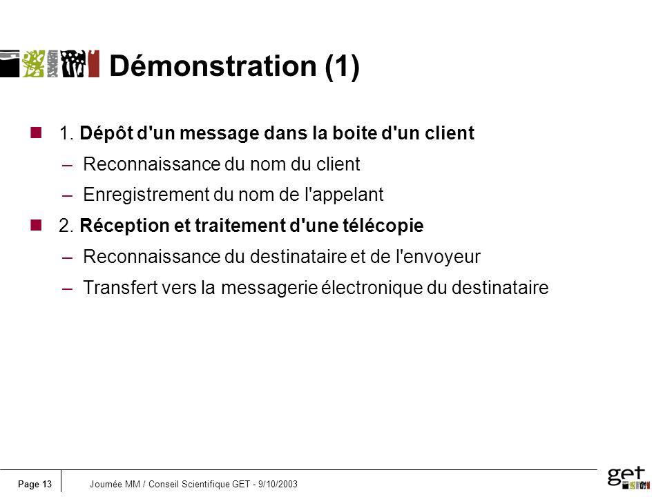 Page 13Journée MM / Conseil Scientifique GET - 9/10/2003 n 1. Dépôt d'un message dans la boite d'un client –Reconnaissance du nom du client –Enregistr