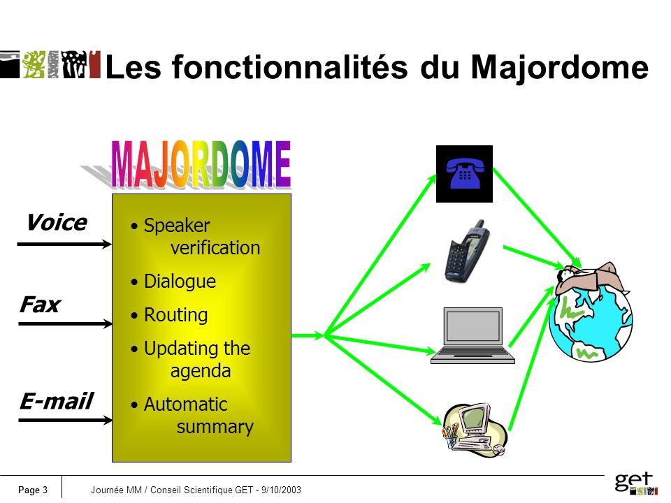 Page 3Journée MM / Conseil Scientifique GET - 9/10/2003 Les fonctionnalités du Majordome Speaker verification Dialogue Routing Updating the agenda Aut