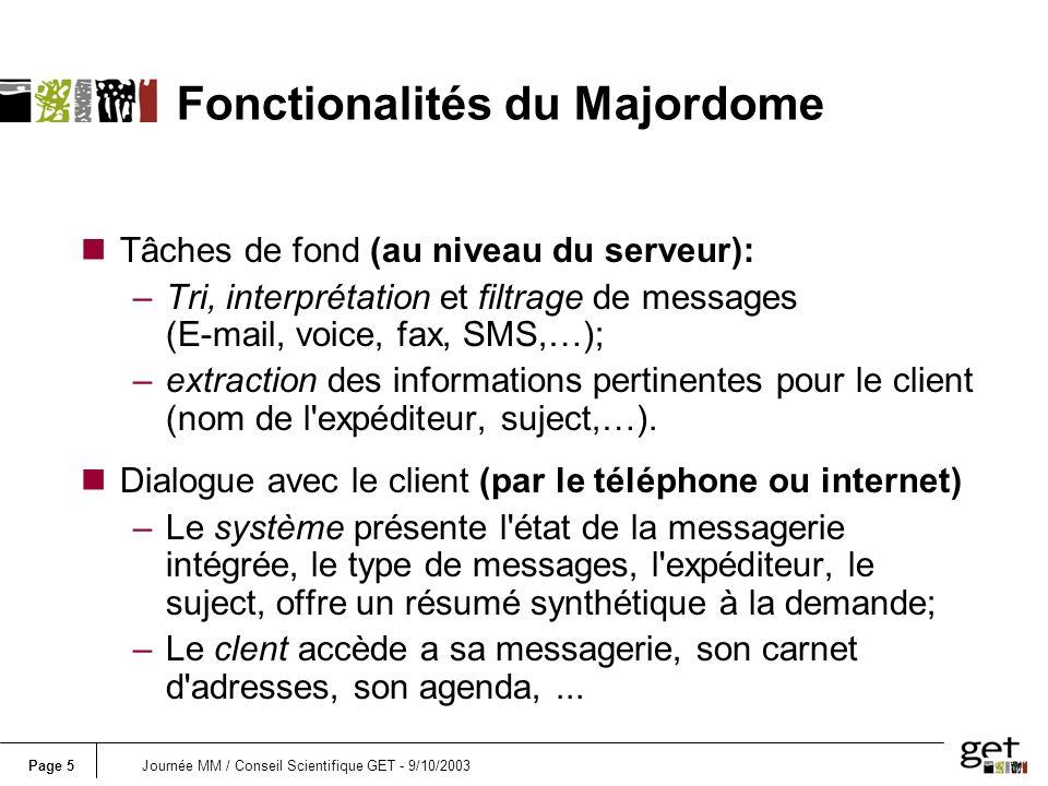 Page 5Journée MM / Conseil Scientifique GET - 9/10/2003 Fonctionalités du Majordome nTâches de fond (au niveau du serveur): –Tri, interprétation et fi