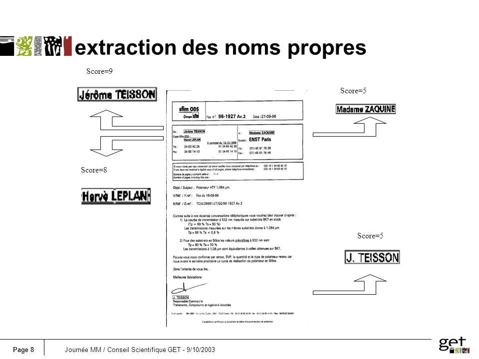Page 8Journée MM / Conseil Scientifique GET - 9/10/2003 extraction des noms propres Score=9 Score=8 Score=5