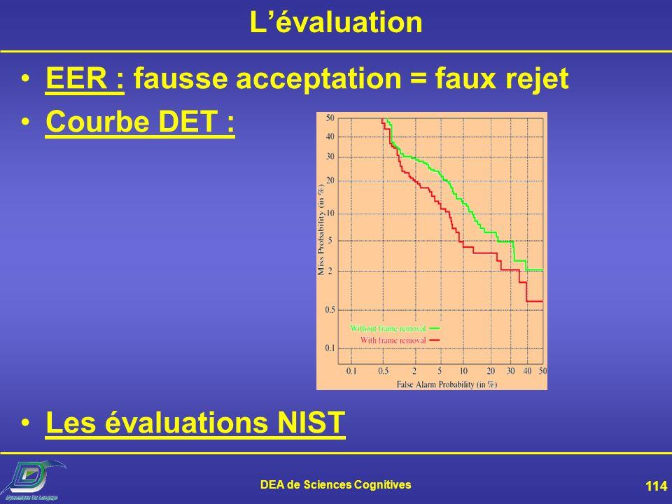 DEA de Sciences Cognitives 113 La phase de décision Calcul dun score –Avec le modèle de locuteur considéré –Avec un « modèle du monde » –Rapport entre