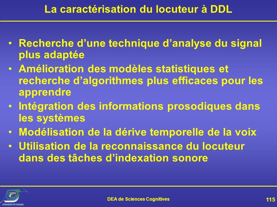 DEA de Sciences Cognitives 114 Lévaluation EER : fausse acceptation = faux rejet Courbe DET : Les évaluations NIST