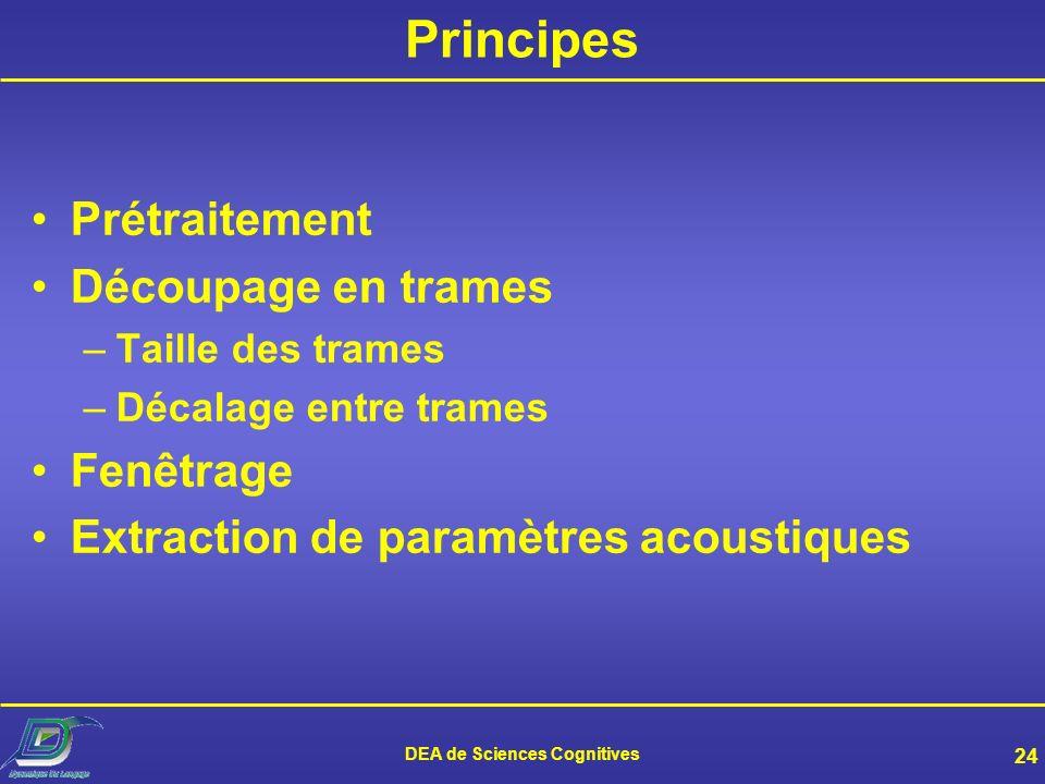 DEA de Sciences Cognitives 23 Objectifs de lanalyse de parole Extraire des paramètres du signal de parole afin de : Retirer linformation non pertinent