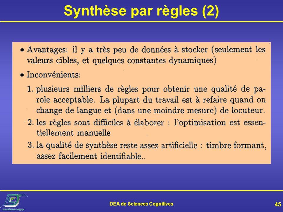 DEA de Sciences Cognitives 44 Synthèse par règles (1)