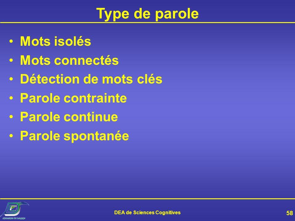 DEA de Sciences Cognitives 57 Typologie des systèmes Type de parole Taille du vocabulaire Niveau de dépendance par rapport aux locuteurs Environnement