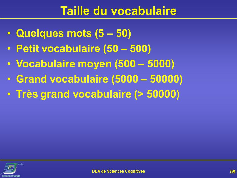 DEA de Sciences Cognitives 59 Taille du vocabulaire Quelques mots (5 – 50) Petit vocabulaire (50 – 500) Vocabulaire moyen (500 – 5000) Grand vocabulaire (5000 – 50000) Très grand vocabulaire (> 50000)
