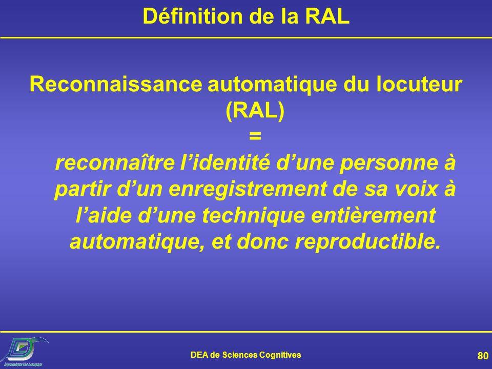 DEA de Sciences Cognitives 79 5. Reconnaissance du locuteur