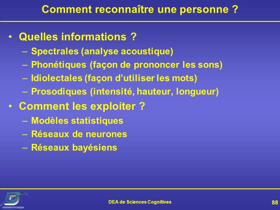 DEA de Sciences Cognitives 87 Les enjeux scientifiques de la RAL Quelles sont les informations utilisées par lhomme pour reconnaître une voix ? Faut-i