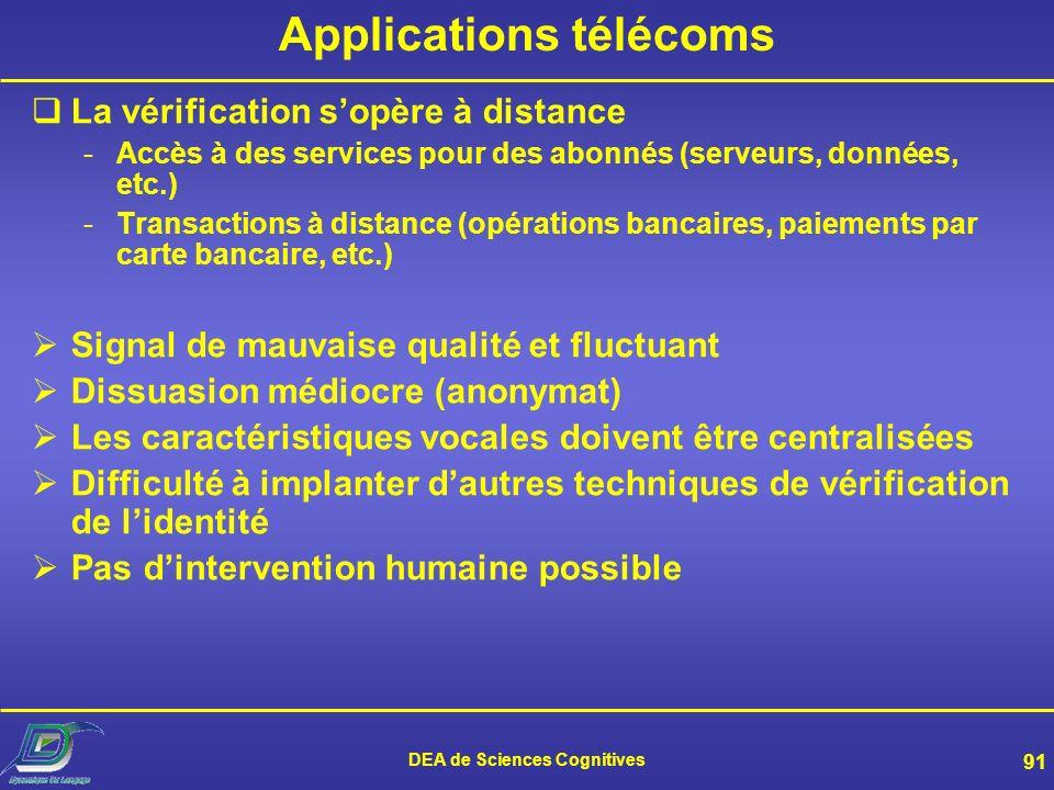 DEA de Sciences Cognitives 90 Applications sur site La personne doit être physiquement présente en un lieu précis -Serrure vocale (pour des locaux, un