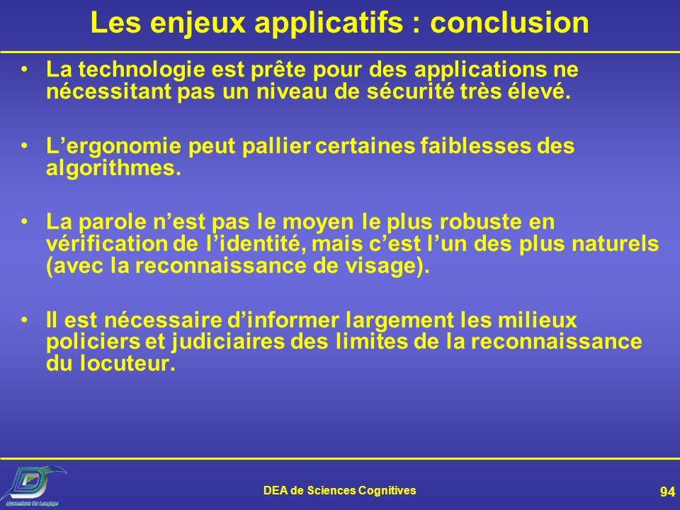 DEA de Sciences Cognitives 93 Mais aussi… Organisation de linformation –Structuration, archivage de documents sonores –Navigation dans ces documents J