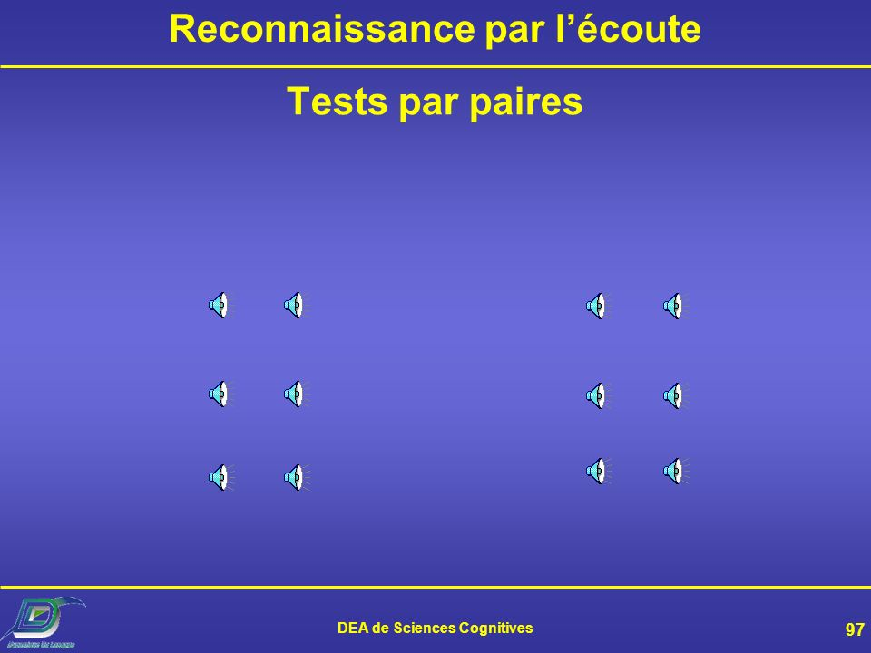 DEA de Sciences Cognitives 97 Reconnaissance par lécoute Tests par paires