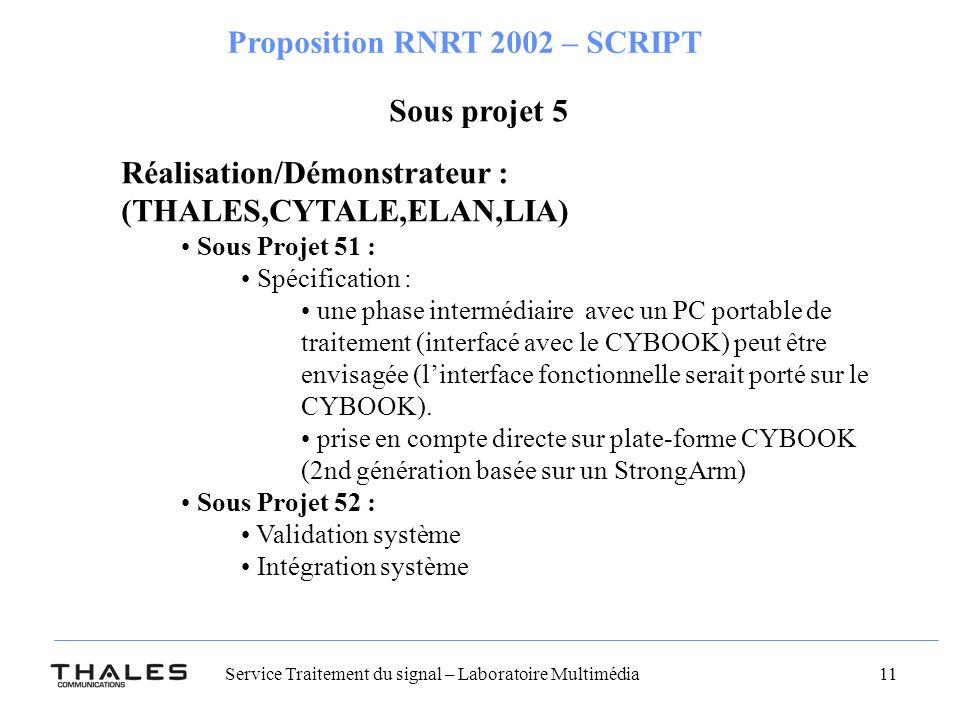 Service Traitement du signal – Laboratoire Multimédia 11 Proposition RNRT 2002 – SCRIPT Sous projet 5 Réalisation/Démonstrateur : (THALES,CYTALE,ELAN,LIA) Sous Projet 51 : Spécification : une phase intermédiaire avec un PC portable de traitement (interfacé avec le CYBOOK) peut être envisagée (linterface fonctionnelle serait porté sur le CYBOOK).