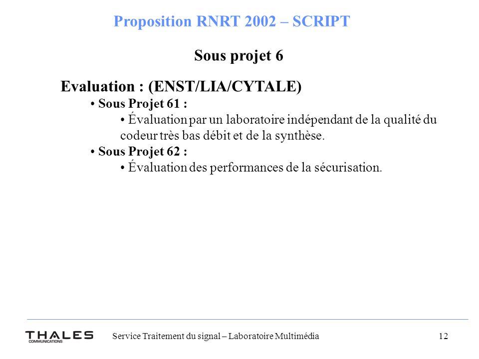 Service Traitement du signal – Laboratoire Multimédia 12 Proposition RNRT 2002 – SCRIPT Sous projet 6 Evaluation : (ENST/LIA/CYTALE) Sous Projet 61 : Évaluation par un laboratoire indépendant de la qualité du codeur très bas débit et de la synthèse.