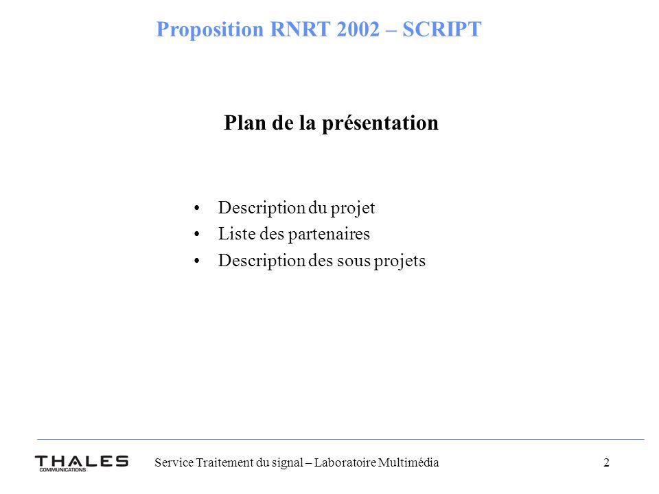 Service Traitement du signal – Laboratoire Multimédia 2 Proposition RNRT 2002 – SCRIPT Plan de la présentation Description du projet Liste des partenaires Description des sous projets