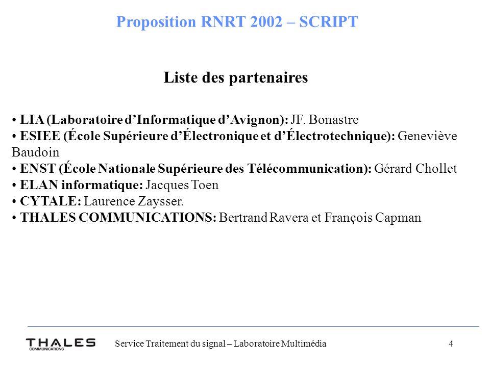 Service Traitement du signal – Laboratoire Multimédia 4 Proposition RNRT 2002 – SCRIPT Liste des partenaires LIA (Laboratoire dInformatique dAvignon): JF.
