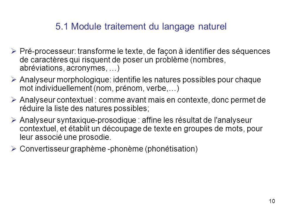 10 5.1 Module traitement du langage naturel Pré-processeur: transforme le texte, de façon à identifier des séquences de caractères qui risquent de pos