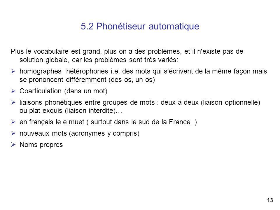 13 5.2 Phonétiseur automatique Plus le vocabulaire est grand, plus on a des problèmes, et il n'existe pas de solution globale, car les problèmes sont
