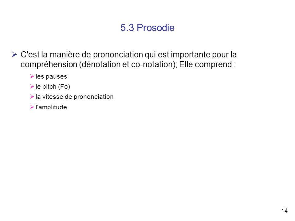 14 5.3 Prosodie C'est la manière de prononciation qui est importante pour la compréhension (dénotation et co-notation); Elle comprend : les pauses le