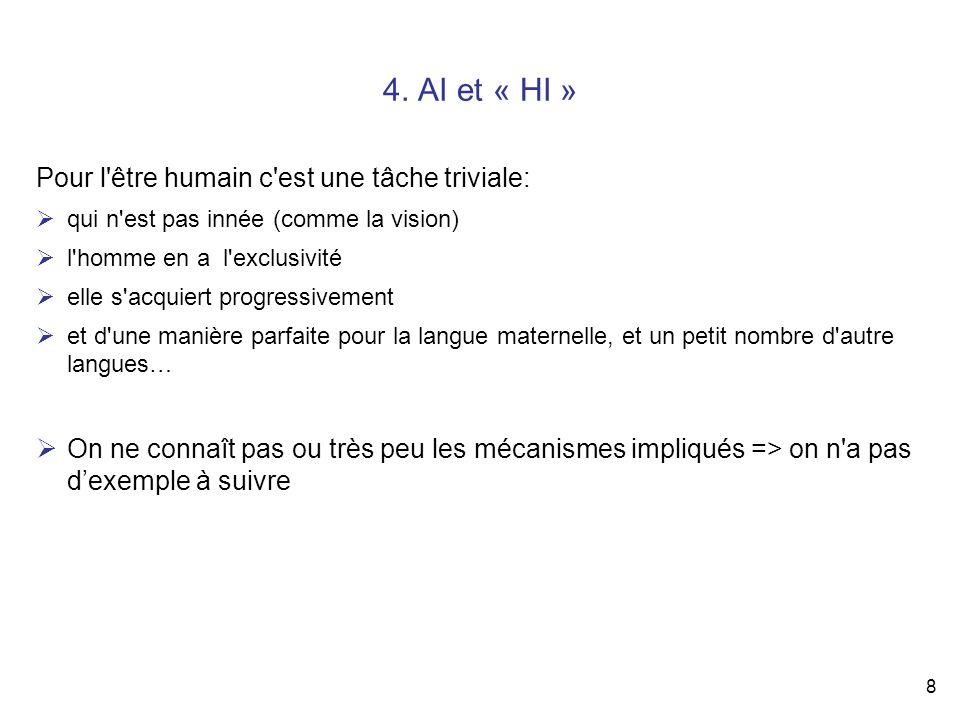 8 4. AI et « HI » Pour l'être humain c'est une tâche triviale: qui n'est pas innée (comme la vision) l'homme en a l'exclusivité elle s'acquiert progre