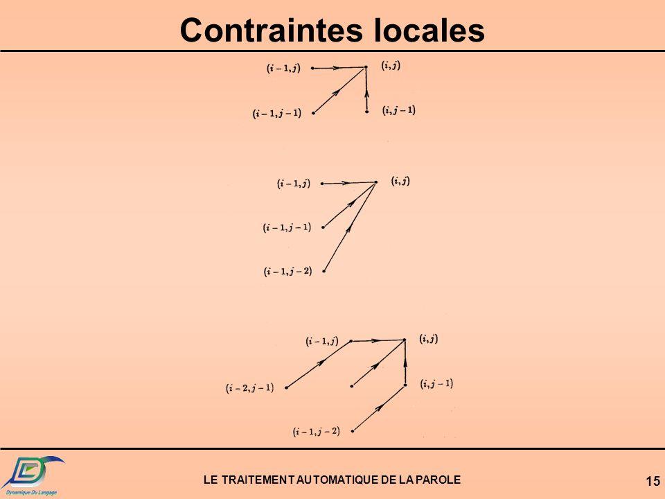 LE TRAITEMENT AUTOMATIQUE DE LA PAROLE 15 Contraintes locales