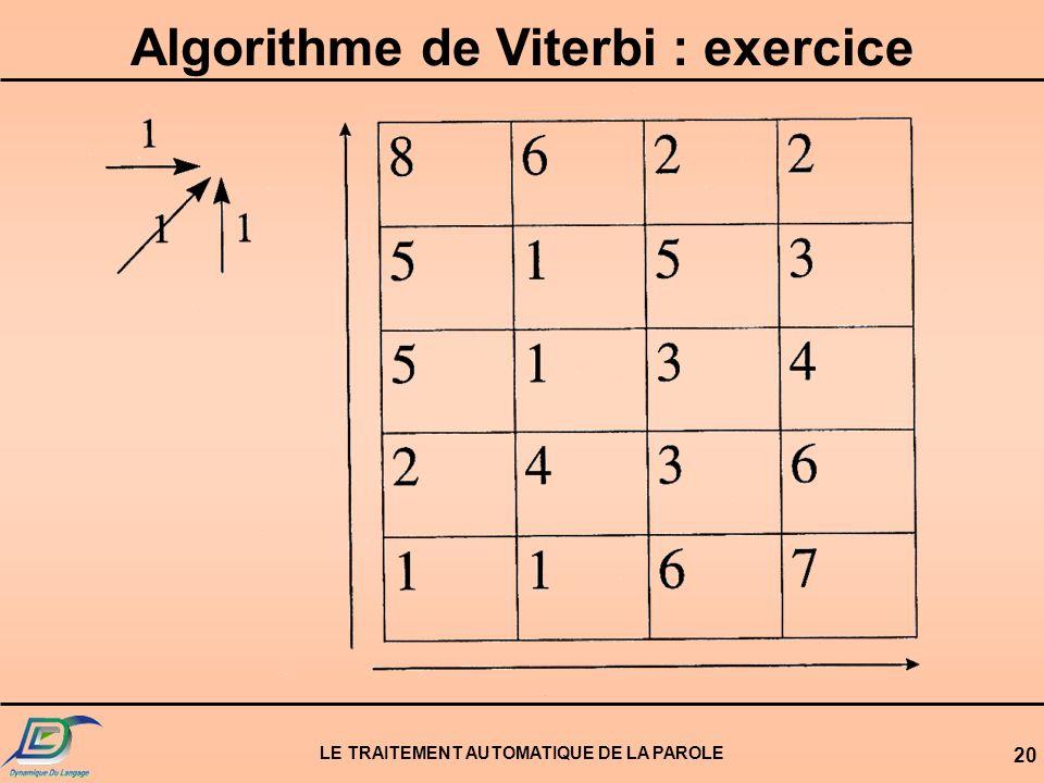 LE TRAITEMENT AUTOMATIQUE DE LA PAROLE 20 Algorithme de Viterbi : exercice