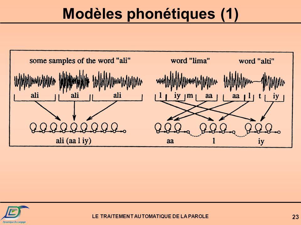 LE TRAITEMENT AUTOMATIQUE DE LA PAROLE 23 Modèles phonétiques (1)