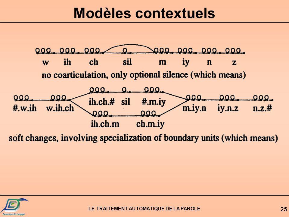 LE TRAITEMENT AUTOMATIQUE DE LA PAROLE 25 Modèles contextuels