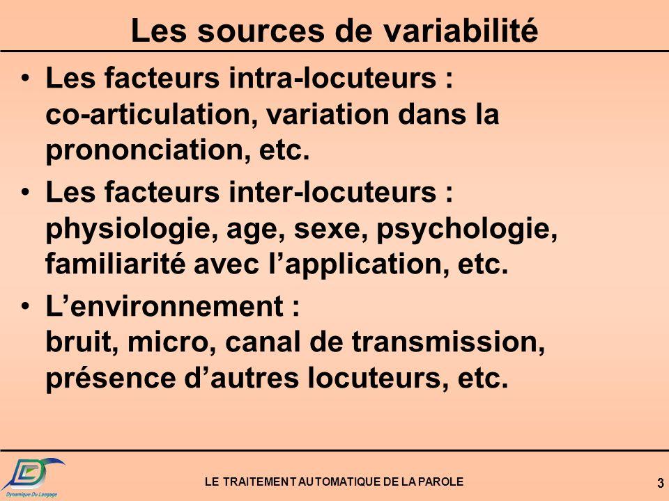 LE TRAITEMENT AUTOMATIQUE DE LA PAROLE 3 Les sources de variabilité Les facteurs intra-locuteurs : co-articulation, variation dans la prononciation, e