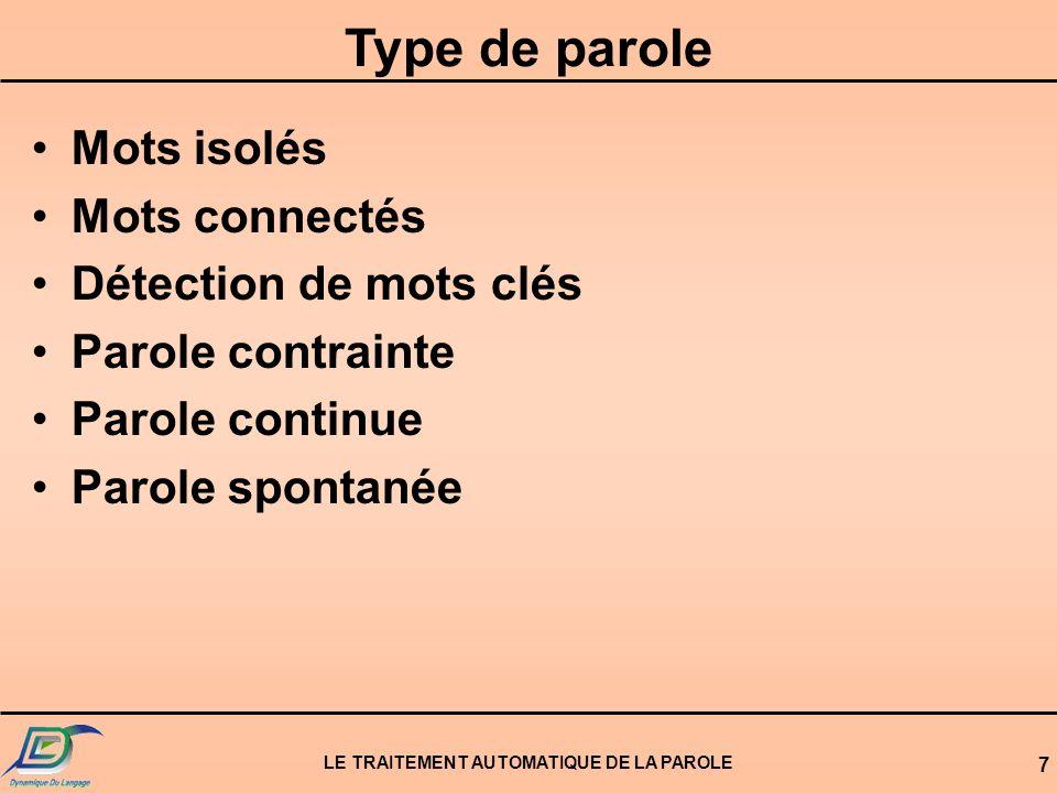 LE TRAITEMENT AUTOMATIQUE DE LA PAROLE 28 Les n meilleures phrases