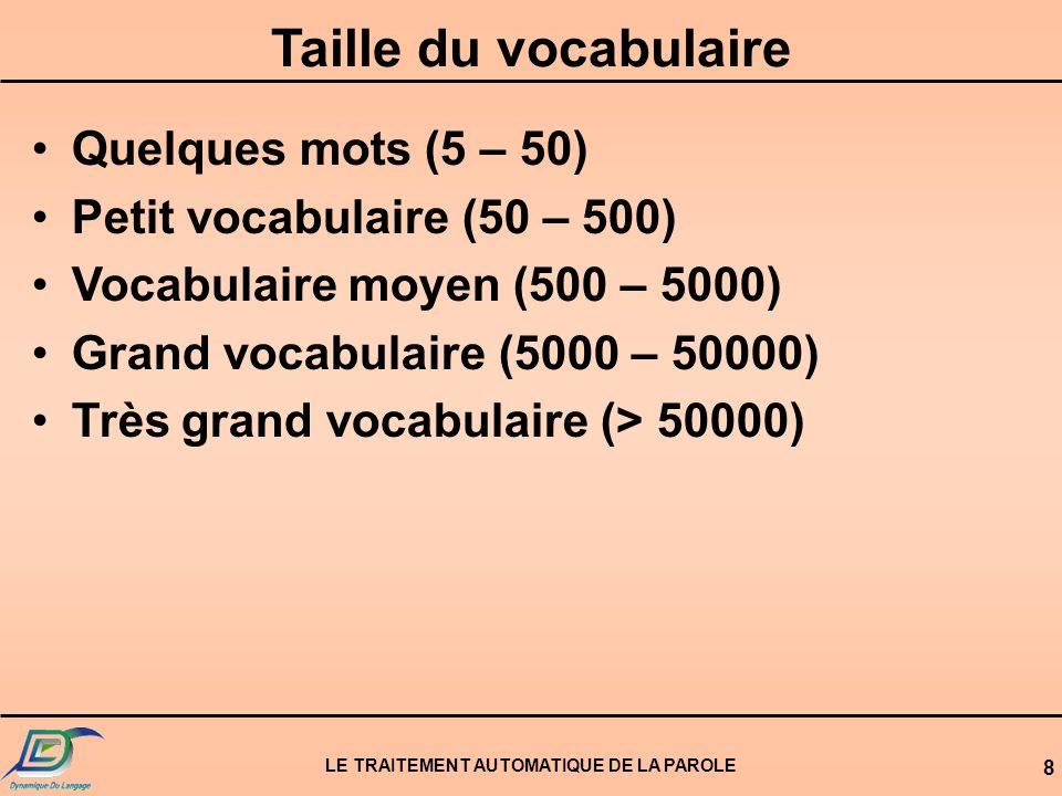 LE TRAITEMENT AUTOMATIQUE DE LA PAROLE 8 Taille du vocabulaire Quelques mots (5 – 50) Petit vocabulaire (50 – 500) Vocabulaire moyen (500 – 5000) Gran