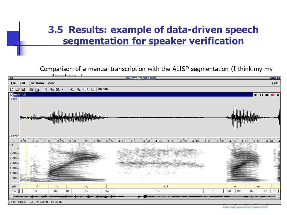 3.5 Results: example of data-driven speech segmentation for speaker verification Comparison of a manual transcription with the ALISP segmentation (I t