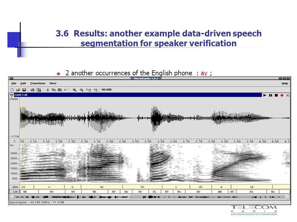 3.6 Results: another example data-driven speech segmentation for speaker verification 2 another occurrences of the English phone : ay ; the correspond