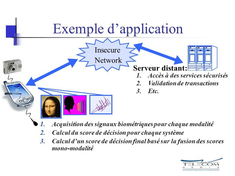 1.Acquisition des signaux biométriques pour chaque modalité 2.Calcul du score de décision pour chaque système 3.Calcul dun score de décision final bas