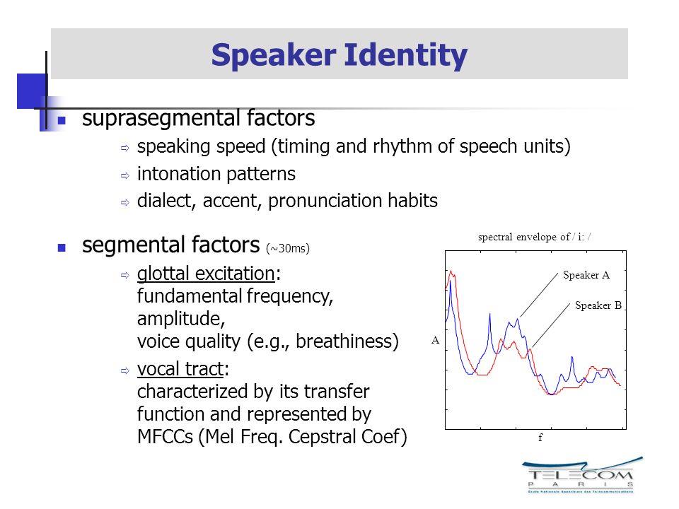 spectral envelope of / i: / f A Speaker A Speaker B Speaker Identity segmental factors (~30ms) glottal excitation: fundamental frequency, amplitude, v