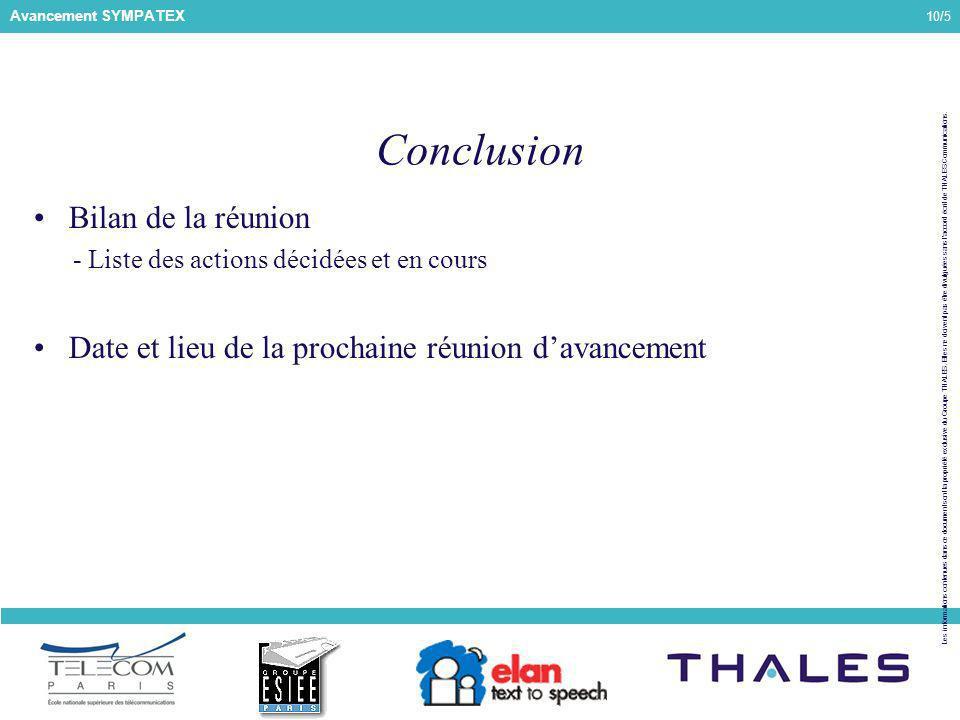10/5 Les informations contenues dans ce document sont la propriété exclusive du Groupe THALES.
