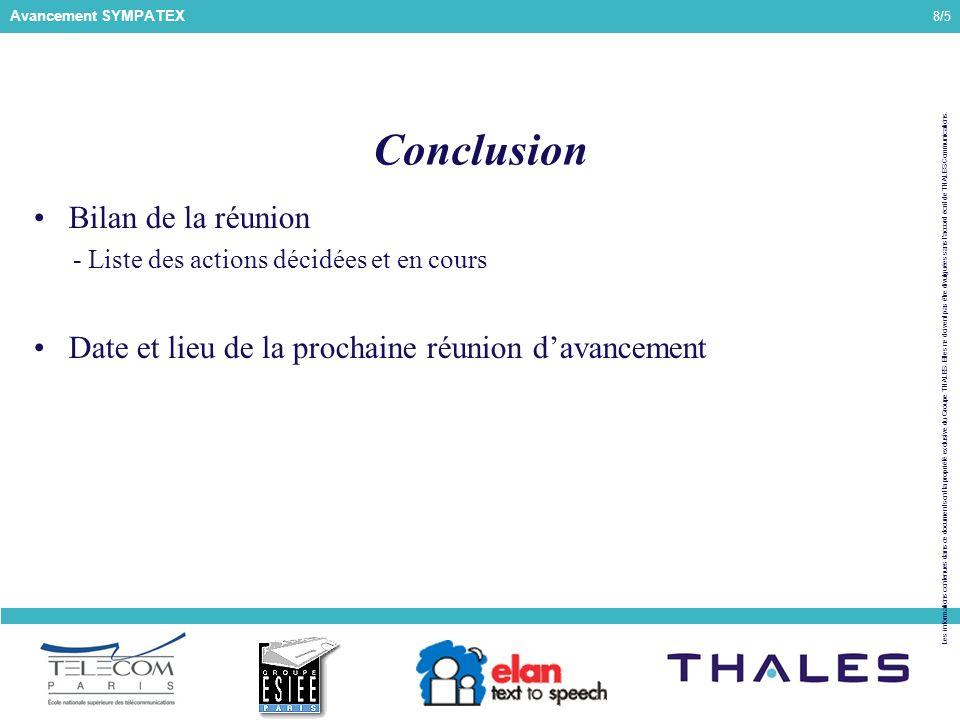 8/5 Les informations contenues dans ce document sont la propriété exclusive du Groupe THALES.