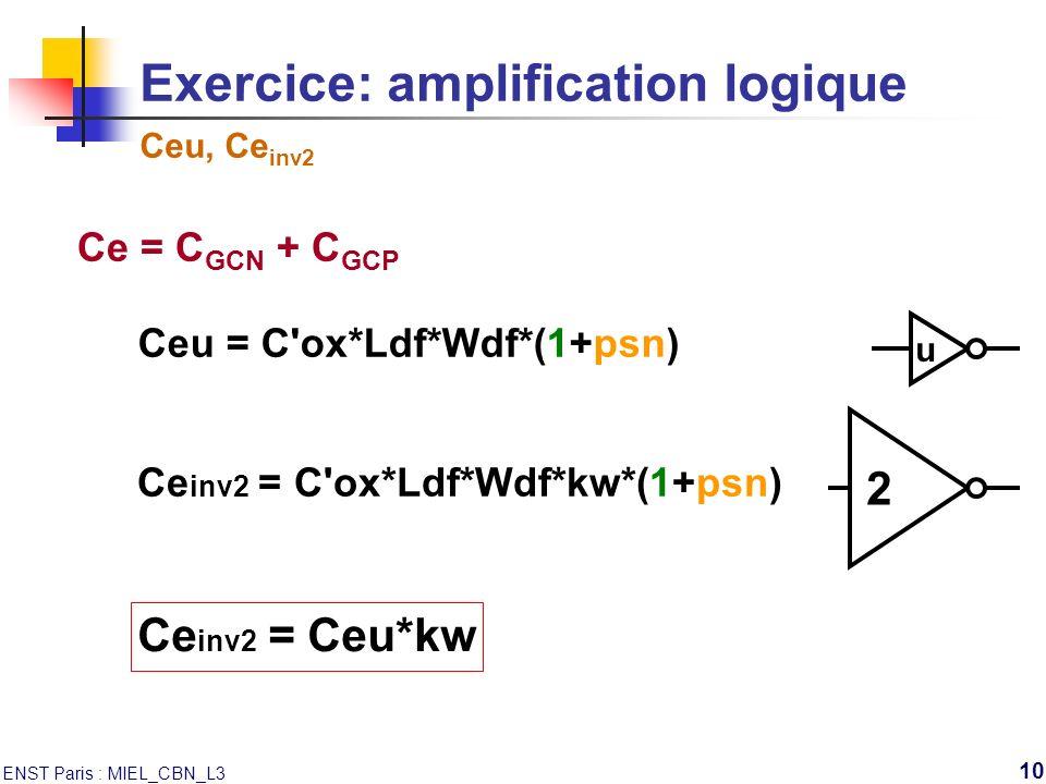 ENST Paris : MIEL_CBN_L3 10 Exercice: amplification logique Ceu, Ce inv2 u Ce = C GCN + C GCP Ceu = C'ox*Ldf*Wdf*(1+psn) 2 Ce inv2 = C'ox*Ldf*Wdf*kw*(