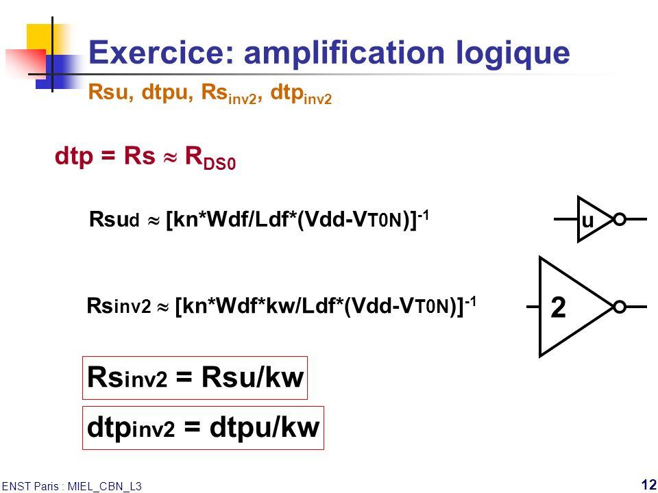 ENST Paris : MIEL_CBN_L3 12 Exercice: amplification logique Rsu, dtpu, Rs inv2, dtp inv2 u dtp = Rs R DS0 Rsu d [kn*Wdf/Ldf*(Vdd-V T0N )] -1 2 Rs inv2