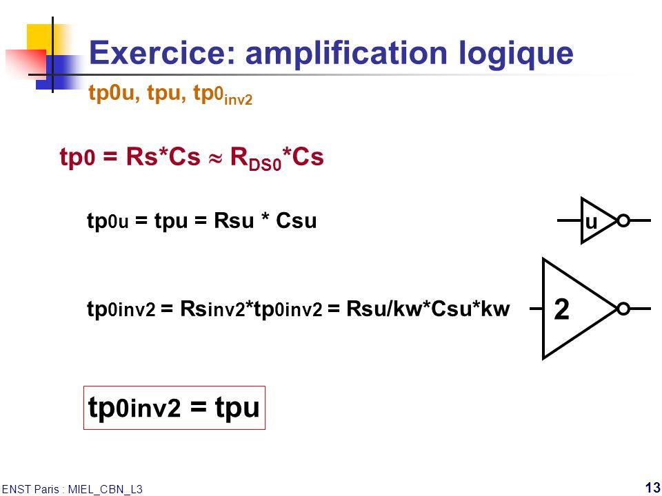 ENST Paris : MIEL_CBN_L3 13 u 2 tp 0inv2 = tpu tp 0 = Rs*Cs R DS0 *Cs tp 0inv2 = Rs inv2 *tp 0inv2 = Rsu/kw*Csu*kw tp 0u = tpu = Rsu * Csu Exercice: a