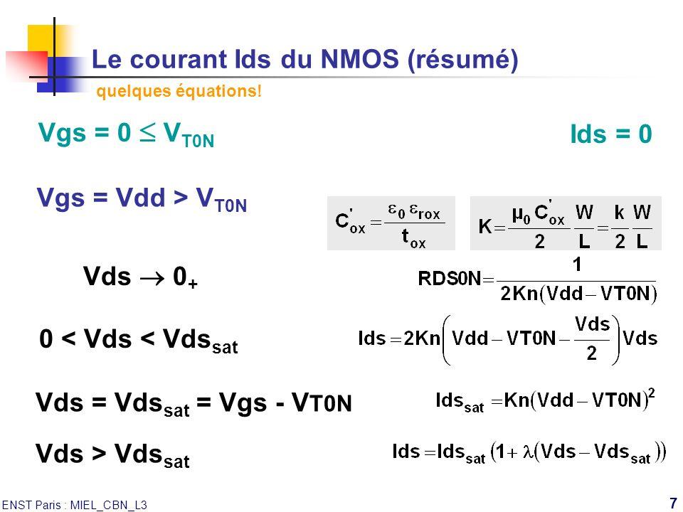 ENST Paris : MIEL_CBN_L3 7 Le courant Ids du NMOS (résumé) quelques équations! Vgs = Vdd > V T0N Vgs = 0 V T0N Ids = 0 Vds 0 + 0 < Vds < Vds sat Vds =