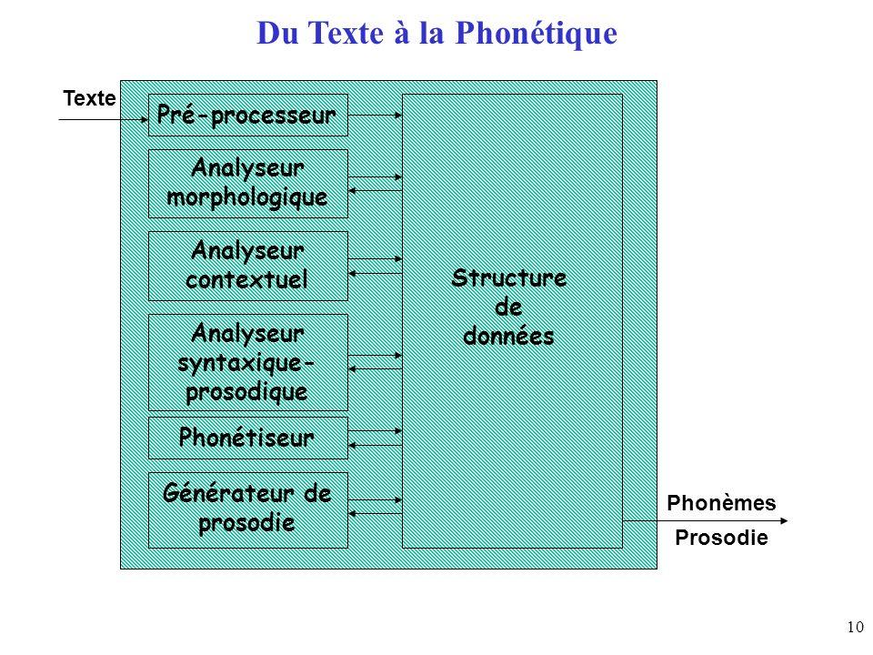 10 Du Texte à la Phonétique Pré-processeur Analyseur morphologique Analyseur contextuel Analyseur syntaxique- prosodique Phonétiseur Générateur de pro