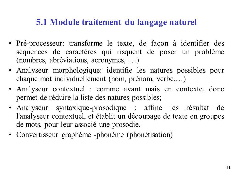 11 5.1 Module traitement du langage naturel Pré-processeur: transforme le texte, de façon à identifier des séquences de caractères qui risquent de pos
